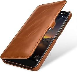 StilGut Book Type, Housse en Cuir pour Nokia 6.1. Etui de Protection en Cuir véritable pour Nokia 6.1 à Ouverture latérale, Cognac avec Clip