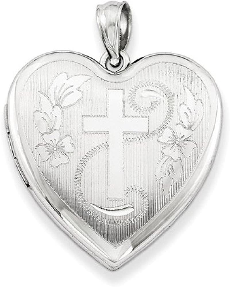 Apples of Gold Heart and Cross Locket Necklace, Sterling Silver