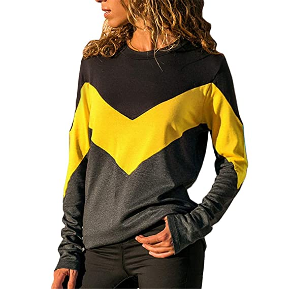 ❤ Blusa de Color con Contraste para Mujer, Blusa de Manga Larga con Cuello en O T-Shirt Holiday Holiday Tops Absolute: Amazon.es: Ropa y accesorios