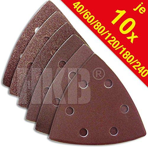 60 Stück HKB ® Schleifdreiecke, 93x93x93mm, 6-Loch für Delta-Schleifer, je 10 Stück Korn 40,60,80,120,180,240, Schleifmittel Korund, Hochwerige Profi-Qualität für verschiedene Oberflächen, feiner und riefenfreier Schliff,