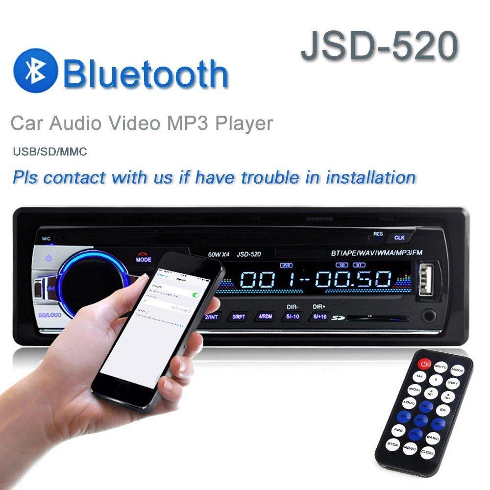Amazon.com: Car Stereo Radio Lexxson 60Wx4 Output Bluetooth FM MP3 Stereo  Radio Receiver Aux With USB SD L-JSD-520: Car Electronics