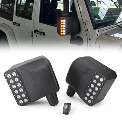 For 07-Up Jeep Wrangler JK Side Mirror Cover W// Yellow LED Turn Signal Light