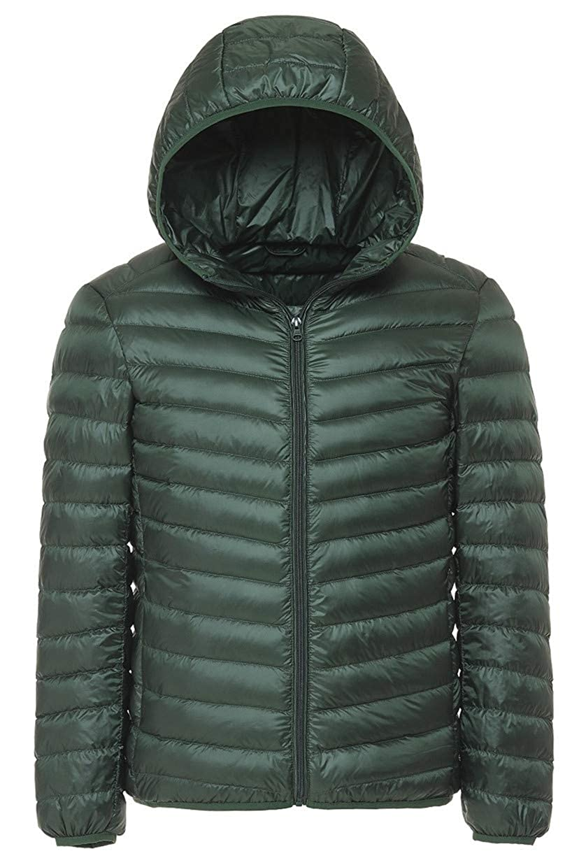 Kwiten Mens Hooded Winter Puffer Jacket Light Packable Down Jacket