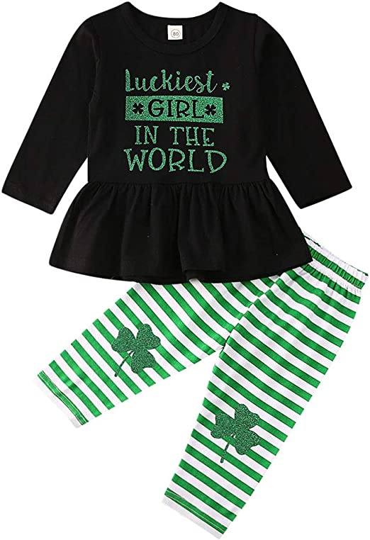Toddler Baby Girls St Patricks Day Lucky Clover Holiday Skirt Set