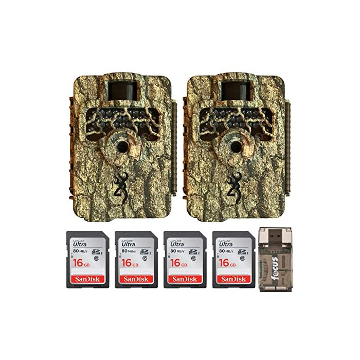 Browning Trail Cameras Command Ops HD 16MP Game Camera (2-Pack) Bundled with Four 16GB Memory Cards and Card Reader (7 Items)