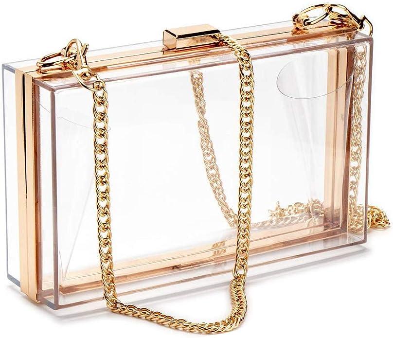 1950s Handbags, Purses, and Evening Bag Styles Clear Purse Acrylic Box Evening Clutch Bag Crossbody Shoulder Handbag for Women  AT vintagedancer.com