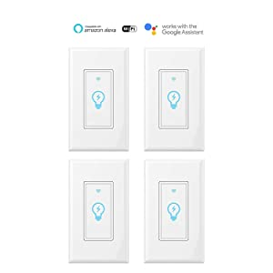 Smart Light Switch, Compatible With Amazon Alexa, Google Home and IFTTT, Remote Control Your Fixtures From Anywhere, Timing Function, Overload Protection, No Hub Required (4 pack)