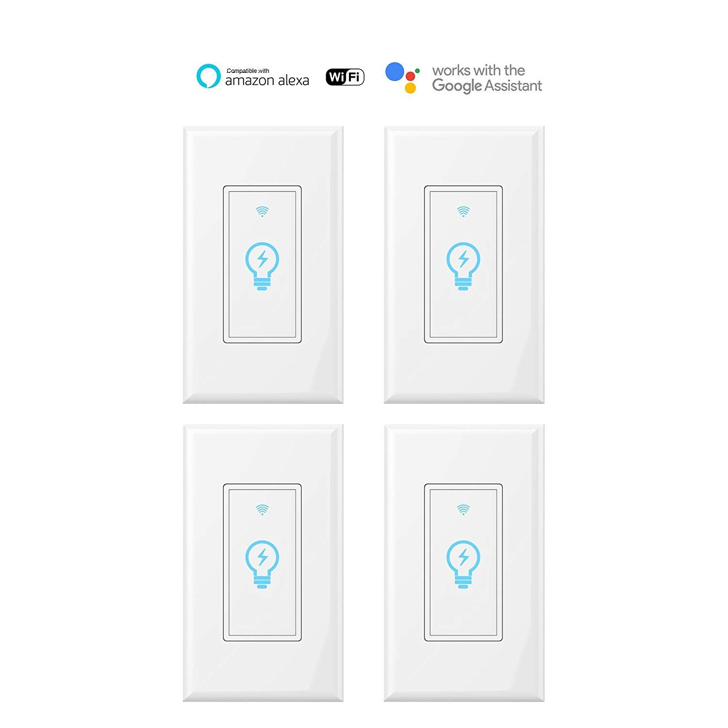 Smart Switch, WiFi Light Switch In-wall Wireless Compatible With Amazon Alexa and Google Home, Timing Function, Overload Protection, Neutral wire require Molop(Smart switch 4pack)