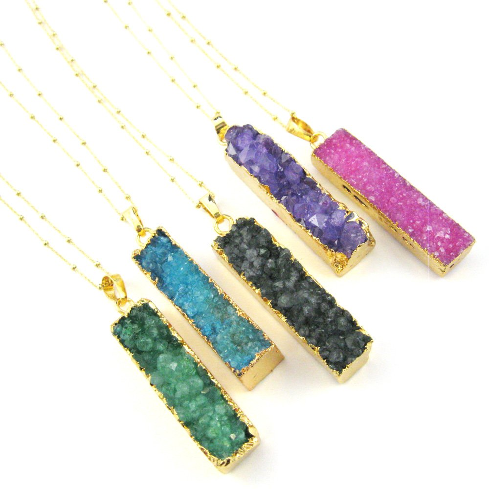 Gold plated Sterling Silver Beaded Necklace Chain Large Pink Druzy Agate Gemstone Bar Necklace