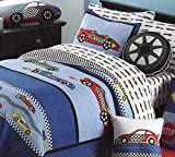 LELVA Cars Boys Quilt Bedding,Twin Size Kids Summer Bedspreads,100% Cotton Mattress (1pc Quilt,1pc Pillow Sham)