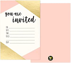 "36 Pack Pink and Gold Foil ""You Are Invited"" Minimalist Party Invitation Card Set - Shabby Chic, Novelty, Invites for Birthdays, Bachelorette Parties, Envelopes Included, 4 x 6 Inches"