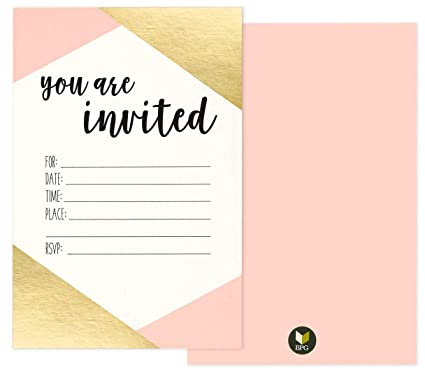 36 Pack Pink And Gold Foil QuotYou Are Invitedquot Minimalist Party Invitation Card
