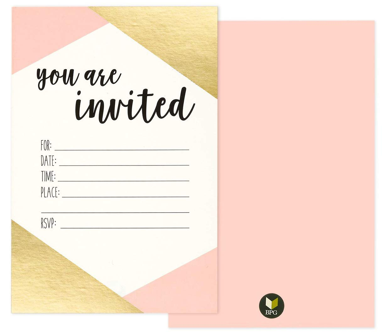 36 Pack Pink and Gold Foil ''You Are Invited'' Minimalist Party Invitation Card Set - Shabby Chic, Novelty, Invites for Birthdays, Bachelorette Parties, Envelopes Included, 4 x 6 Inches