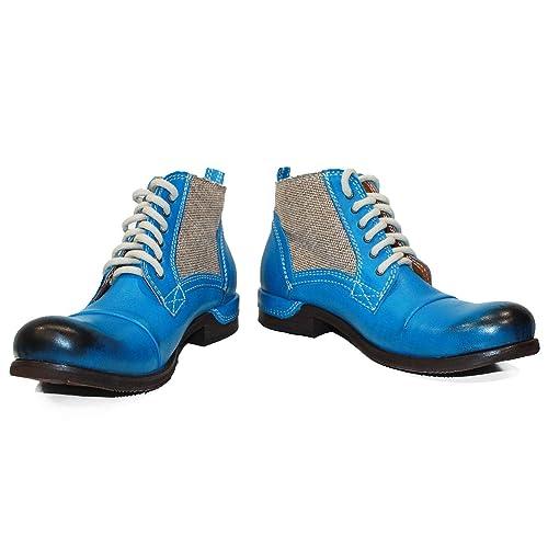 75668354a32 Modello Nuecello - Cuero Italiano Hecho A Mano Hombre Piel Color Azul Botas  Bajas Botines - Cuero Cuero Pintado a Mano - Encaje  Amazon.es  Zapatos y  ...