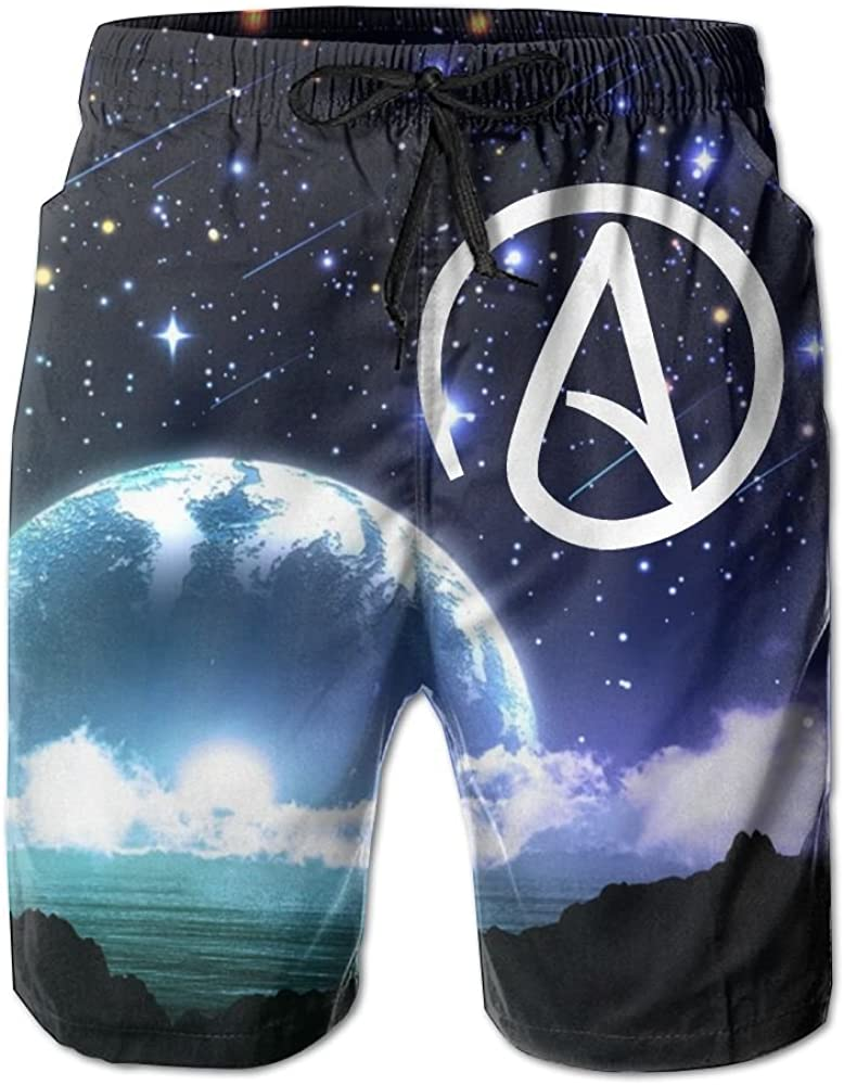 Helidoud Atheist Sign Mens Athletic Classic Summer Shorts Casual Swim Shorts with Pockets