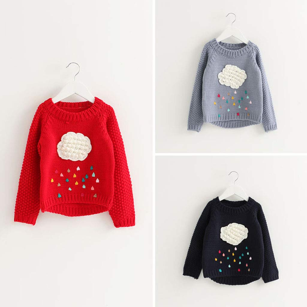 Baby Toddler Girls Kids Cloud Sweater Long Sleeve Knit Pullovers Warm Coat Outerwear Clothes 3-7 Years Old