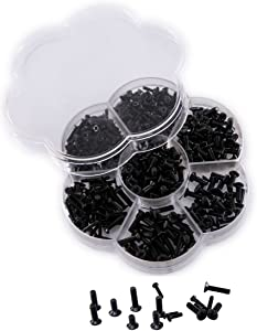 Mini Skater 400Pcs M2 M3 Cross Flat Head Countersunk Bolts Black Oxide Finish Machine Mounting Screws Assortment Kit for Home Office Computer Case Appliance Equipment Sheet Metal Cover