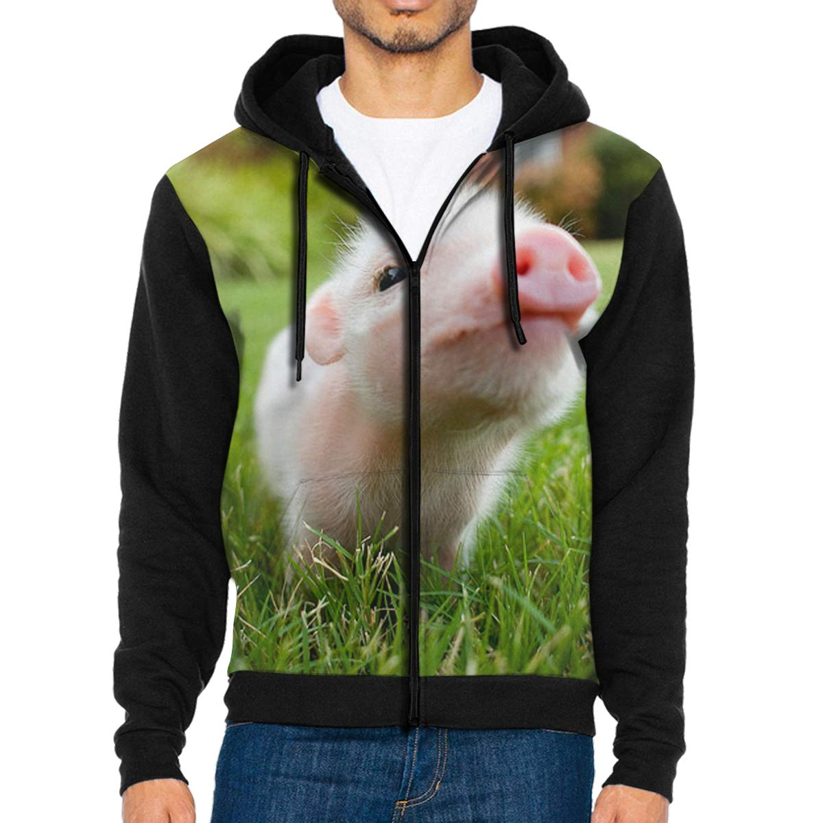 Mens Full-Zip Hoodie Sweatshirt Naughty Pig Baby Sportswear Jackets with Pockets