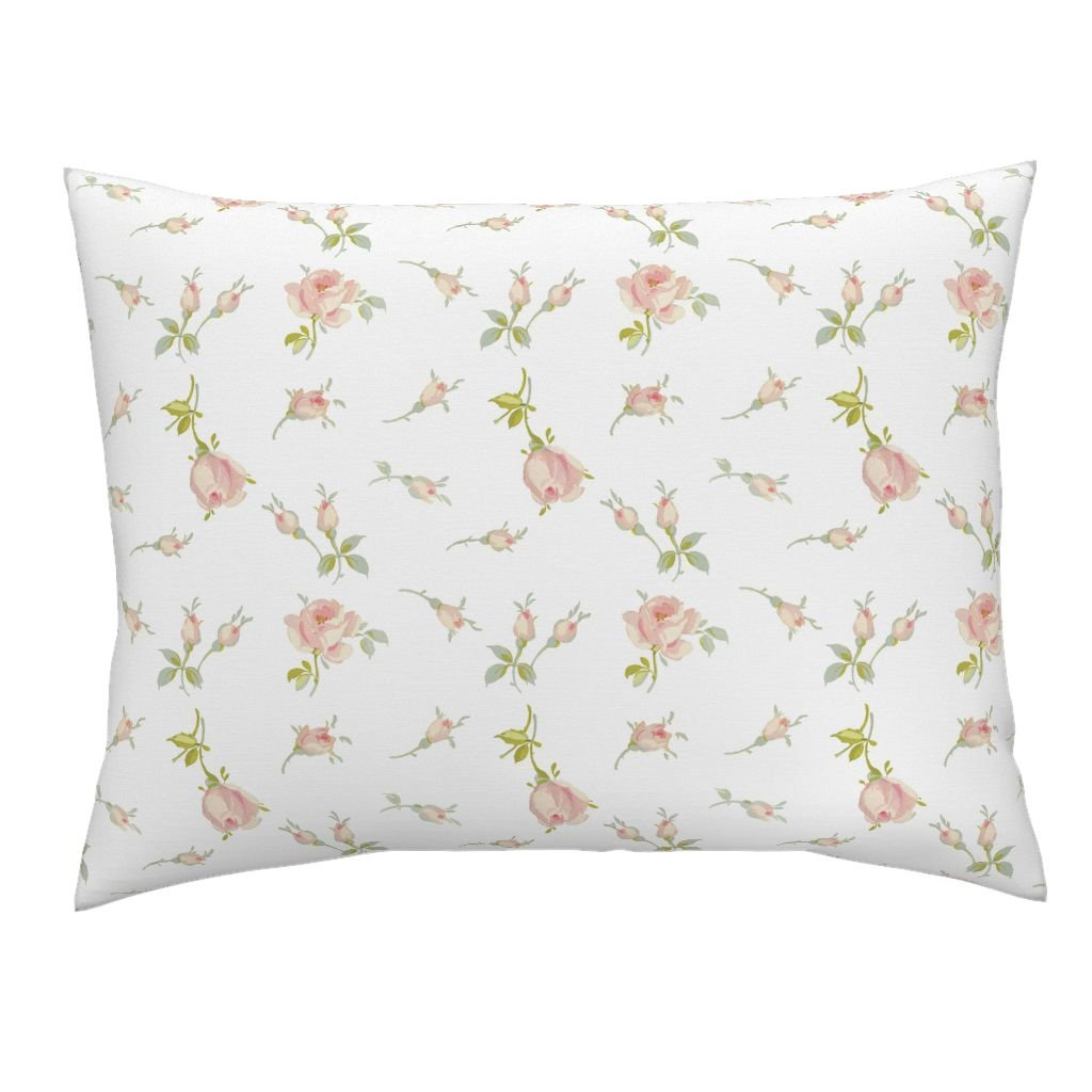 roostery Roses Pillow Sham Imogen Rosebuds in Sorbetピンクby lilyoake Natural Cotton Sateen Made by 26