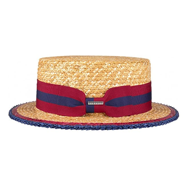 94620ea26d0a6c Stetson Classic Straw Boater & Striped Band: Amazon.co.uk: Clothing