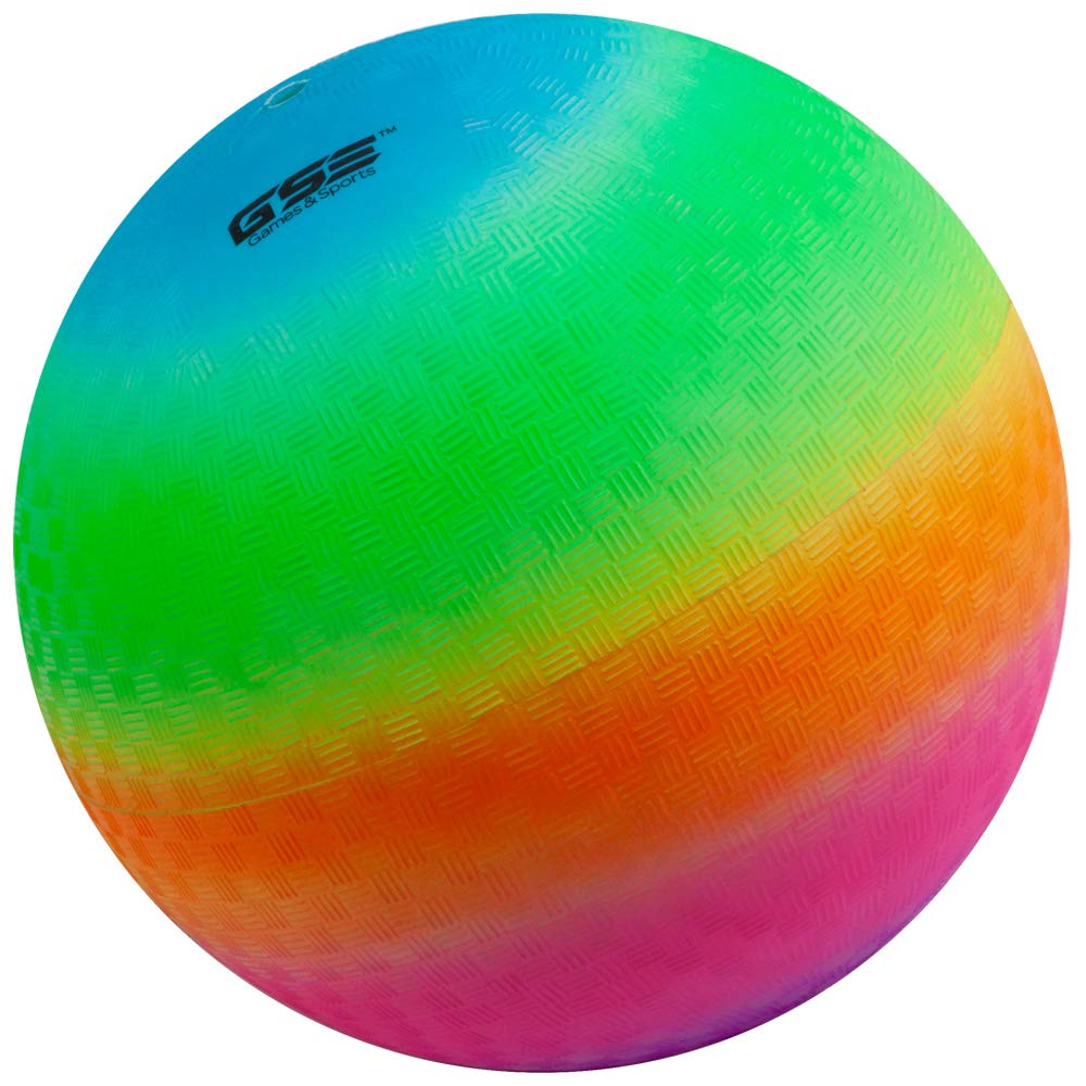 GSE Games & Sports Expert 8.5-inch Inflatable Rainbow Colored Playground Balls (Single Ball)