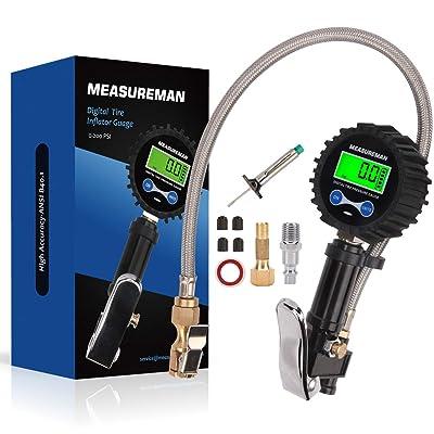 "Measureman 2-1/2"" Precise Digital Tire Pressure Gauge, Digital Tire Inflator, with Back LCD Light, Tire Tread Depth Gauge Test Kit - 200 PSI, Pressure Hold and Release, Heavy Duty Air Chuck, Flexible: Automotive"
