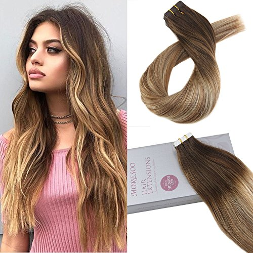 Moresoo 18' Tape in Ombre Remy Hair Extensions Seamless Hair Extensions Color #4 Dark Brown Fading to #6 and #24 Light Blonde Extensions Real Hair 20PCS 50G Brazilian Human Hair