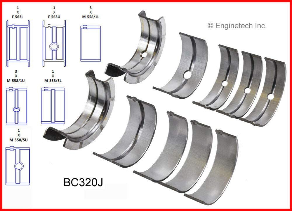 ENGINETECH BB625J CONNECTING ROD BEARINGS compatible with 1973-2011 FORD MAZDA 2.8L 2.9L 4.0L V6 12-VALVE SIZE:010