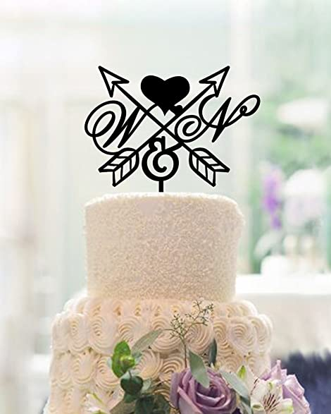 Amazon Com Arrow And Heart Cake Topper Wedding Personalized
