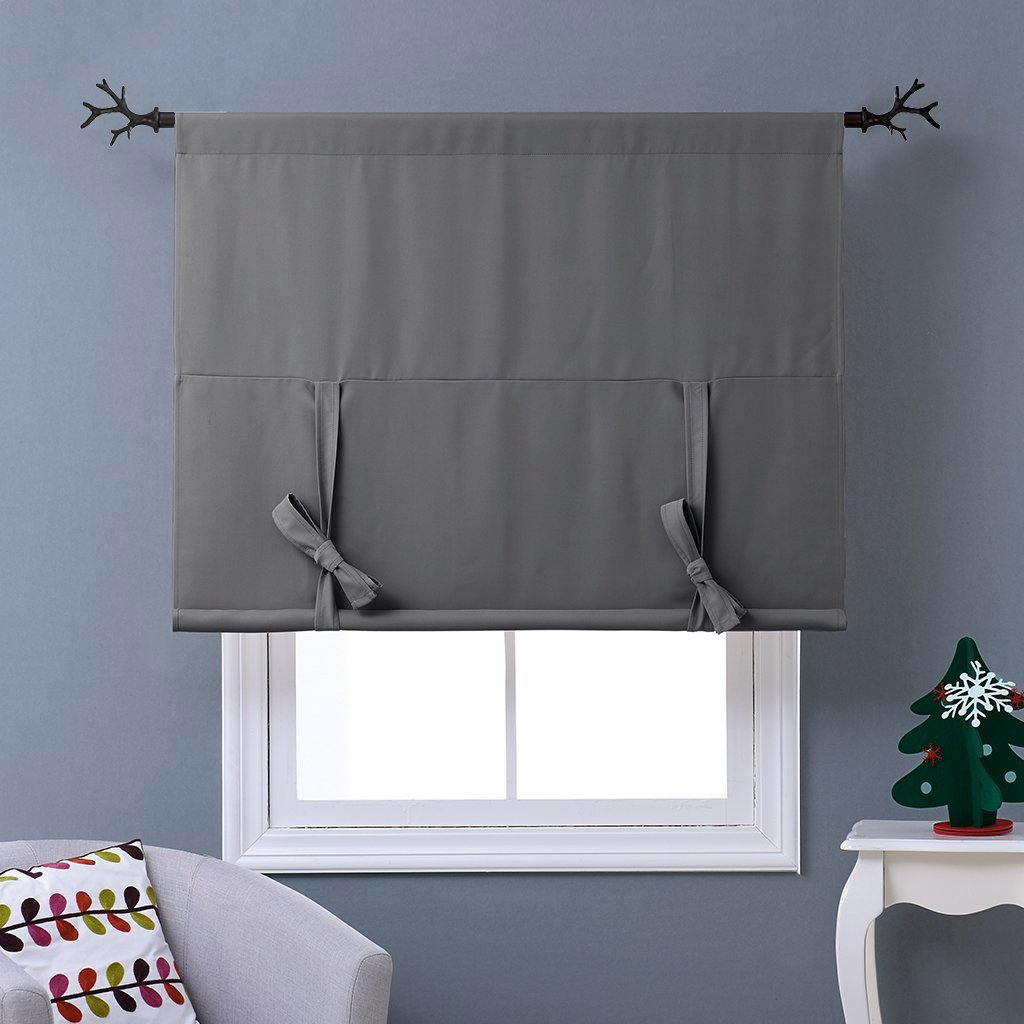 NICETOWN Thermal Insulated Blackout Curtain - Grey Tie Up Shade for Small Window, Window Valance Balloon Blind (Rod Pocket Panel, 46'' W x 63'' L) by NICETOWN (Image #3)