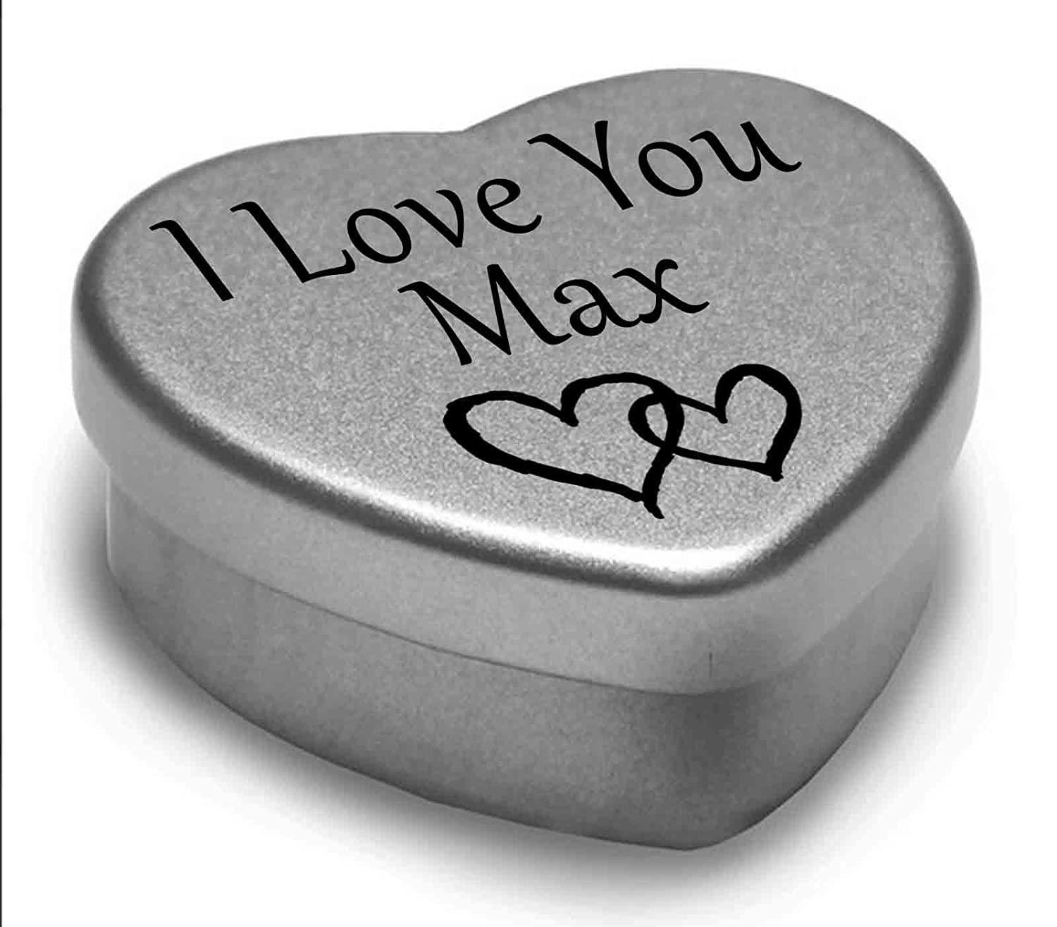 I Love You Max Mini Heart Tin Gift For I Heart Max With Chocolates. Silver Heart Tin. Fits Beautifully in the Palm of Your Hand. Great as a Birthday Present or Just as a Special Gift to Show Somebody How Much You Love Them. Gift In Can Ltd