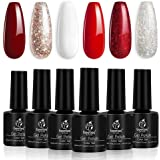 Beetles Candy Cane Gel Nail Polish Set - 6 Colors Glitter Burgundy Red Sparkle Gel Polish Kit Snow White Silver Nail Gel…