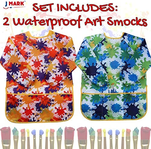 Kids Waterproof Artist Aprons with Cuffs /& Front Pockets Smocks Easy Washing