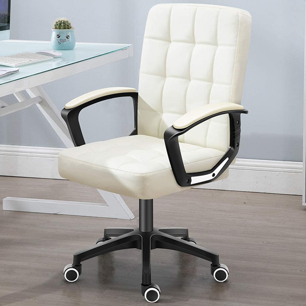 XXQ Executive Office Desk Chair, Thick Padding for Comfort Ergonomic Design for Lumbar Support Office Chair with Metal Frame,C