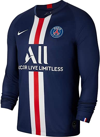 Amazon Com Nike 2019 2020 Psg Long Sleeve Home Football Soccer T Shirt Jersey Clothing