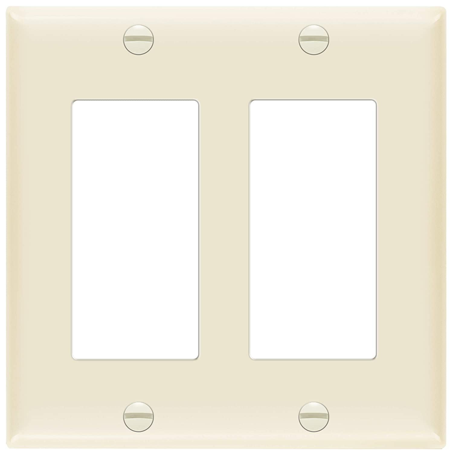 "ENERLITES Decorator Light Switch or Receptacle Outlet Wall Plate, Size 2-Gang 4.50"" x 4.57"", Unbreakable Polycarbonate Thermoplastic, UL Listed, 8832-LA, Light Almond"