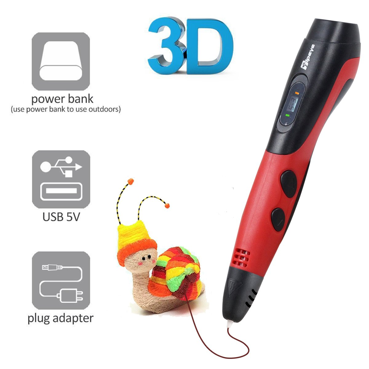 TIPEYE 3D Pen for Kids with 200 Stencils EBook 2019 Newest Version 3D Pen Kits with 7.5m PLA Filament 3D Printing Pen with LCD Display PLA Filament Refills for Adults Girls Artist Drawing Doodling