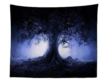 Psicodelia Árbol de la Vida con Lila Luz Pared Alfombra einsamer Árbol de arte Meditación pared