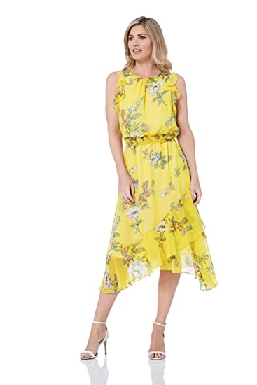 bb2b8cb9214c1 Roman Originals Women Floral Frill Midi Dress - Ladies Round Neck ...