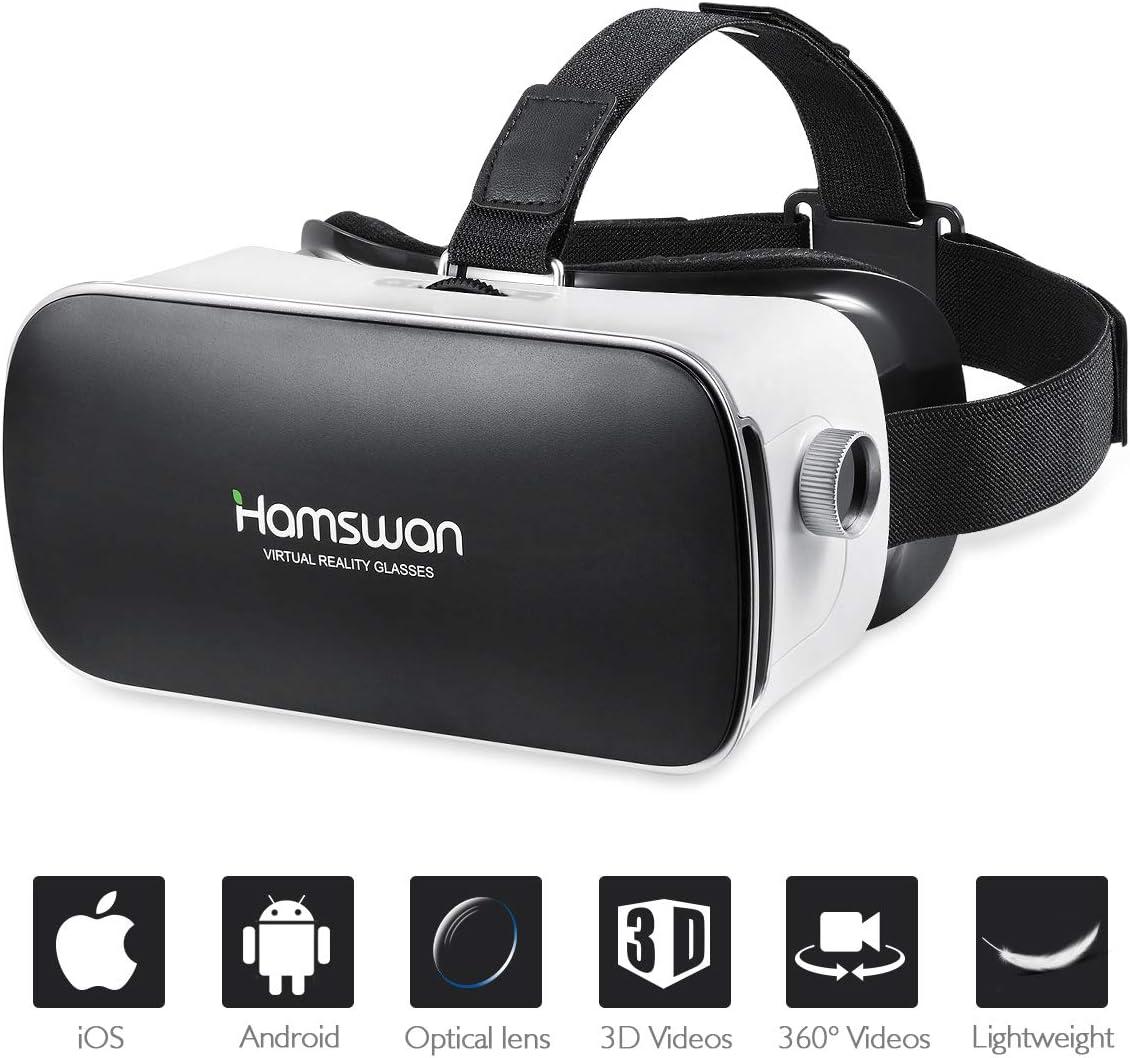 HAMSWAN Gafas de Realidad Virtual, [Regalos para Padre] Gafas 3D VR, VR Glasses con Visión Panorámico de 360 Grados Película 3D Juego Immersivo para Móviles 4.7-6.0 Pulgada