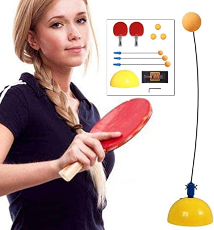 Table Tennis Trainer with Elastic Soft Shaft Gift for Table Tennis Enthusiasts for Indoor or Outdoor Use 2 Flexible Axle of 0.9 m 3 Balls 2 Paddles Leisure Decompression Sports Set 1 Base