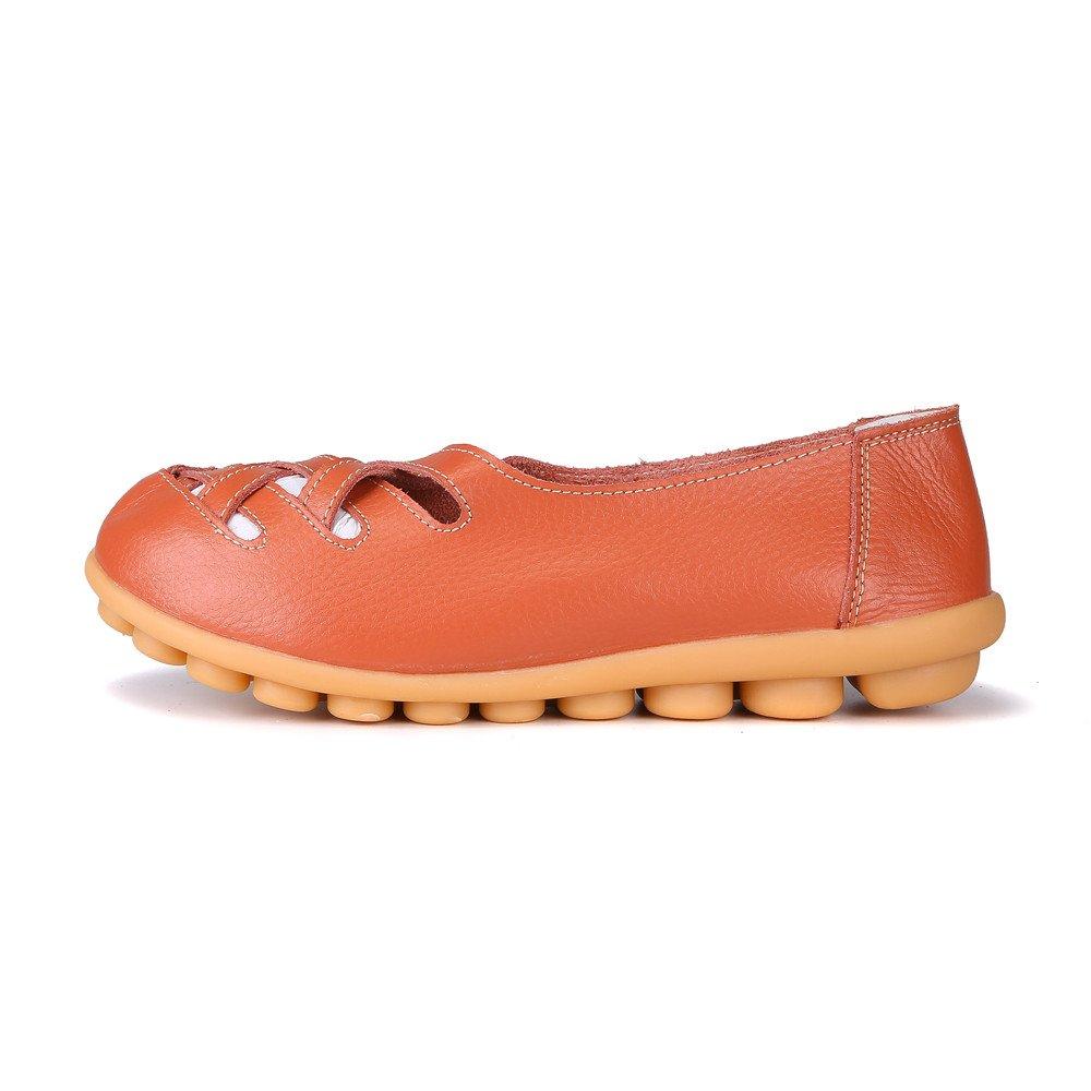 MXTGRUU Women's Casual Comfortable Walking Shoes with Criss Cross B07DJBSNTJ 5 B(M) US Orange