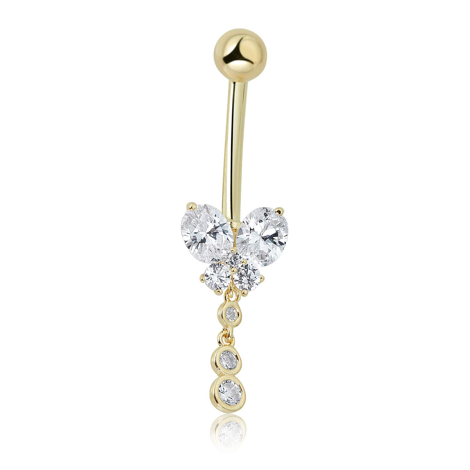 10K Yellow Gold 4-stone Simulated Diamond CZ Dangling Butterfly Belly Button Ring Body Jewelry - 014 Gauge by AVORA