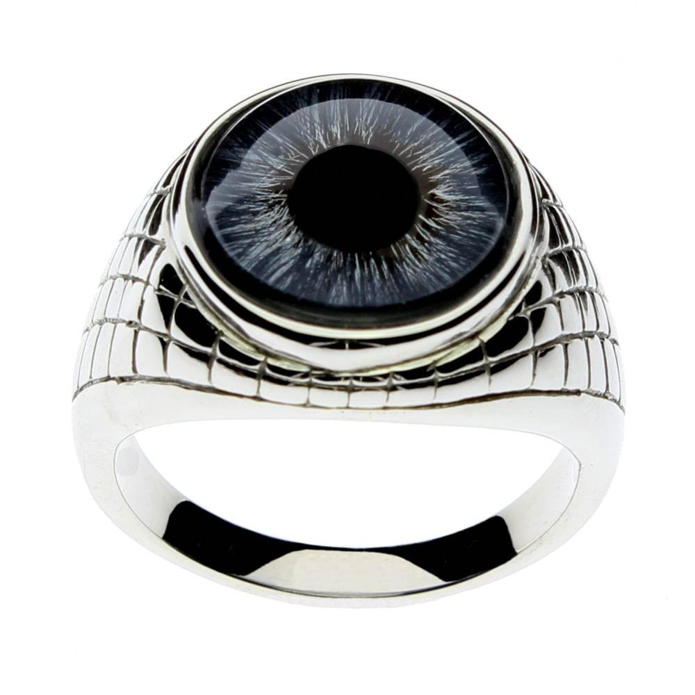 Steel Dragon Jewelry Men's Blue Glass Eye Ring in an Egyptian-Inspired Setting (Blue Human, 11)