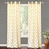 "yellow insulated grommet curtains - DriftAway Geo Trellis Room Darkening/Thermal Insulated Grommet Unlined Window Curtains, Set of Two Panels, each 52""x96"" (Yellow)"