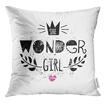 Amazon VANMI Throw Pillow Cover Pink Teen The Wonder Girl Quote Simple Hipster Decorative Pillows