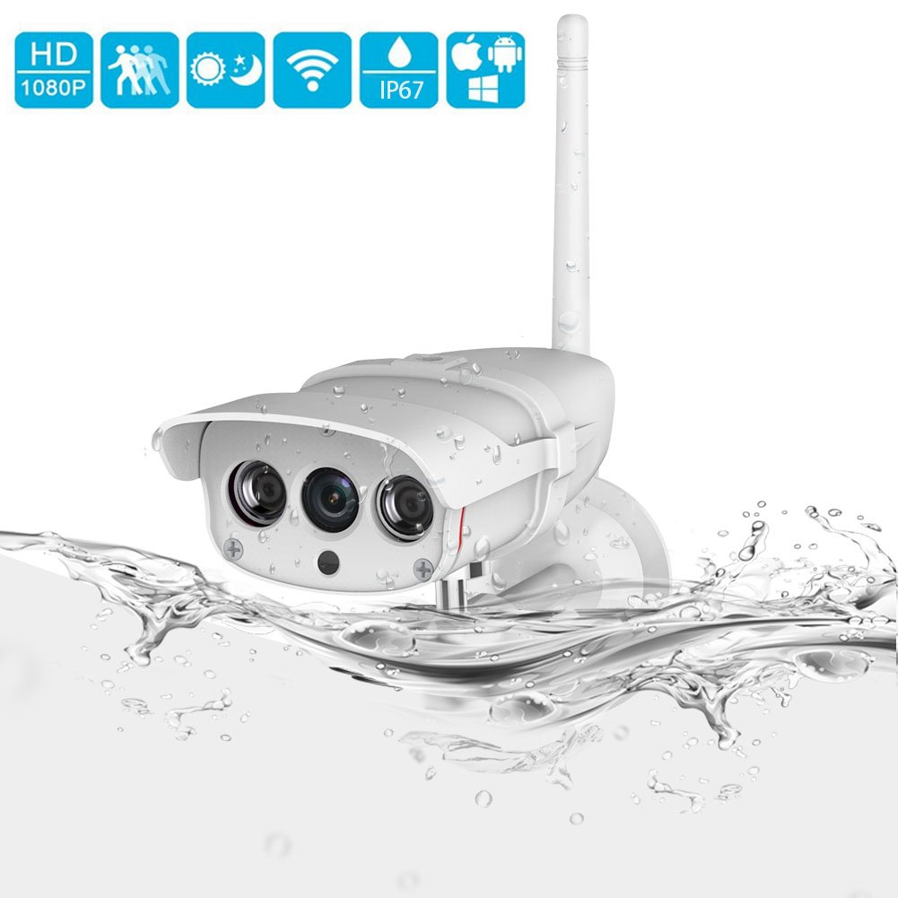 1080P Outdoor Security Camera, INKERSCOOP Wireless IP Camera IP67 Super Waterproof WiFi Home Security Camera, Network Surveillance System with Night Vision and Motion Detection