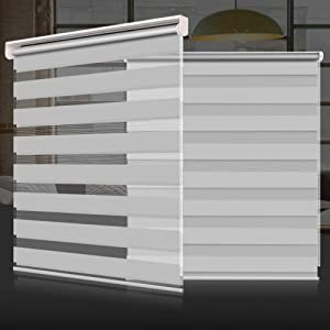 """SEEYE Zebra Shade Blinds Horizontal Window Curtain Day and Night Blind Dual Layer Shades Easy to Install 23.6""""×59"""", Grey"""