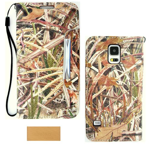 Wireless Fones TM Hunter Series Real Shredder Grass Camo Flip Stand Folio Wallet Case Cover for Samsung Galaxy S5 (2014 RELEASE)