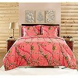 Realtree APC 2 Piece Comforter Set, Twin, Bright Coral